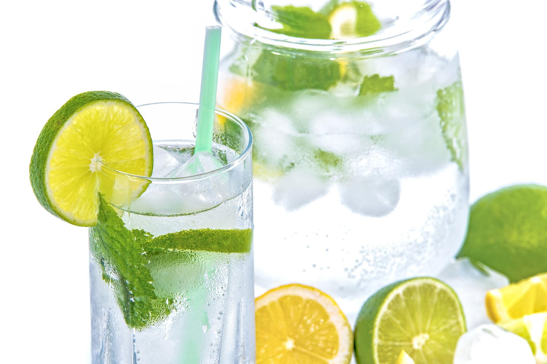 glass of lemon water.
