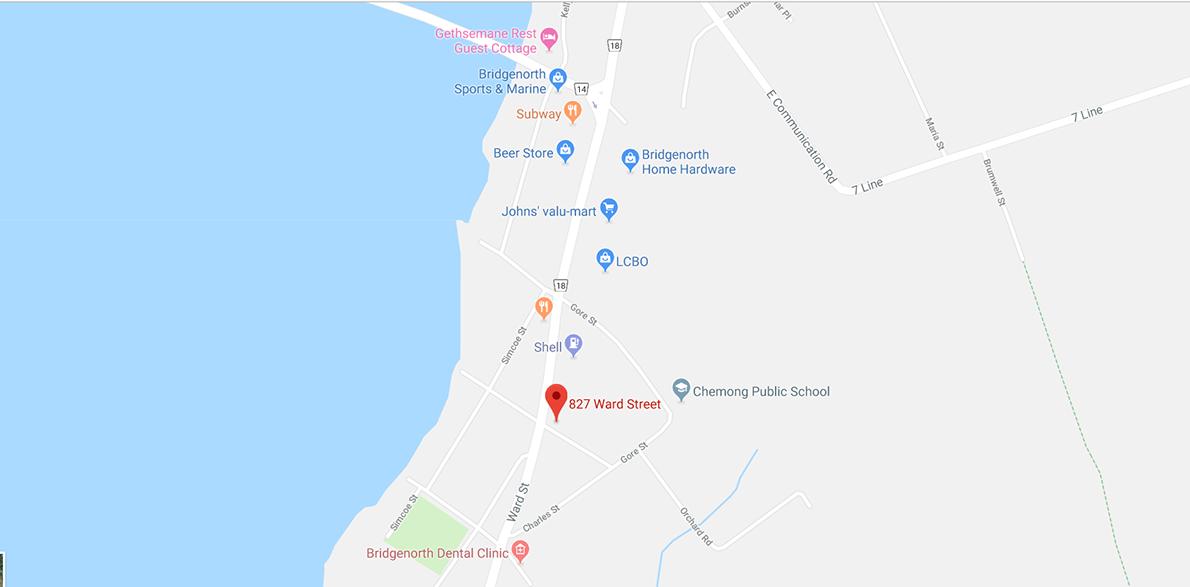 Map showing location of Pioneer Water Conditioning 827 Ward Street North, Bridgenorth Ontario.